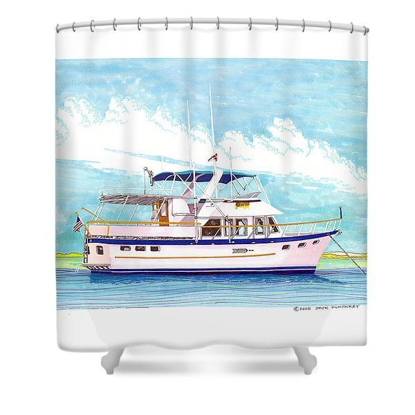 37 foot Marine Trader 37 Trawler yacht at anchor Shower Curtain by Jack Pumphrey
