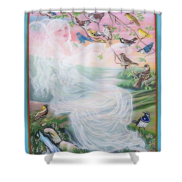 380  Whistling Angel And Birds Shower Curtain by Sigrid Tune