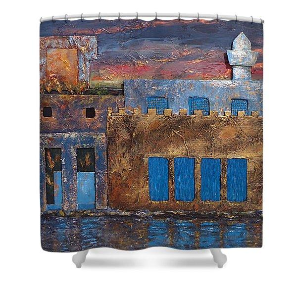 3d Village Shower Curtain by Amani Al Hajeri