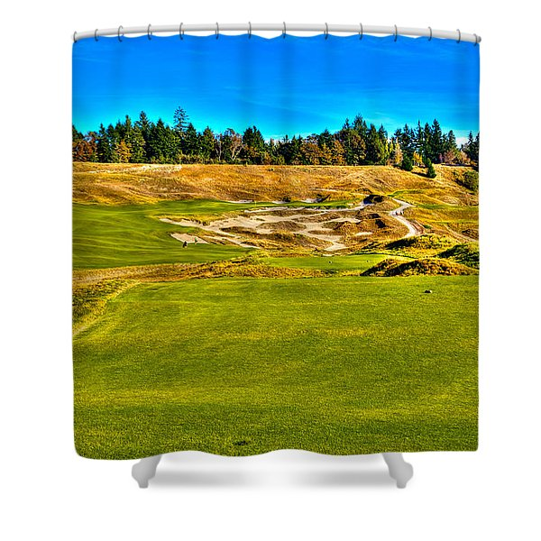 #4 at Chambers Bay Golf Course - Location of the 2015 U.S. Open Championship Shower Curtain by David Patterson
