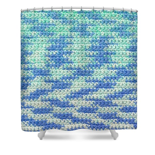 Crochet Made With Variegated Yarn Shower Curtain by Kerstin Ivarsson