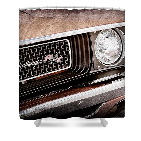 Dodge Challenger RT Grille Emblem Shower Curtain by Jill Reger