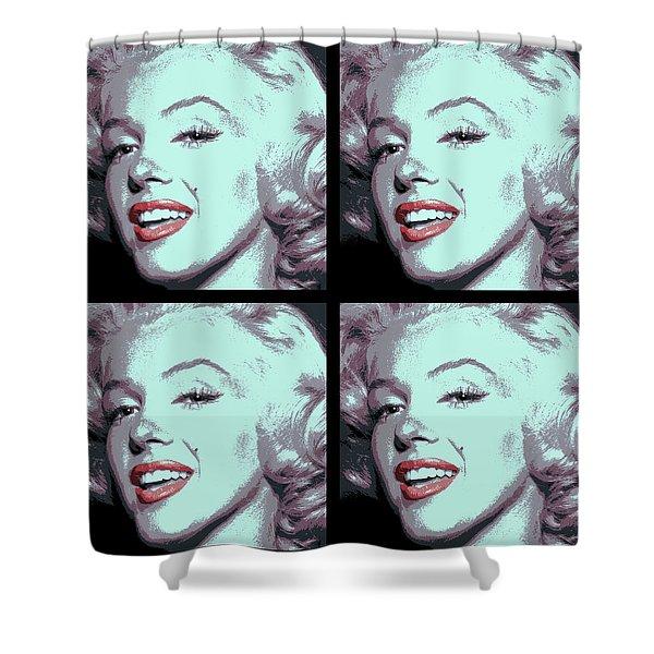 4 Frame Marilyn Pop Art Shower Curtain by Daniel Hagerman