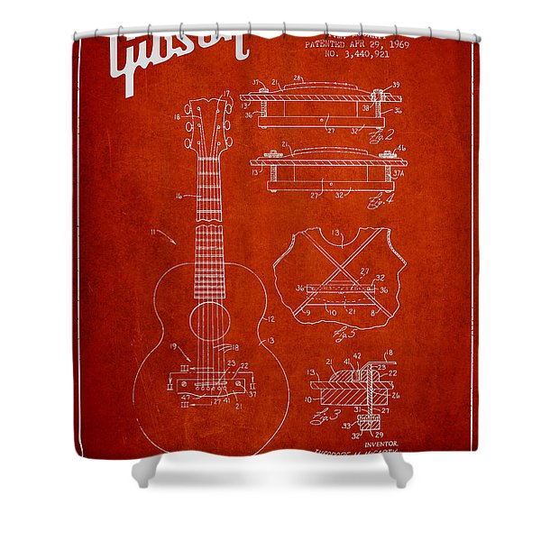 Mccarty Gibson stringed instrument patent Drawing from 1969 - Red Shower Curtain by Aged Pixel