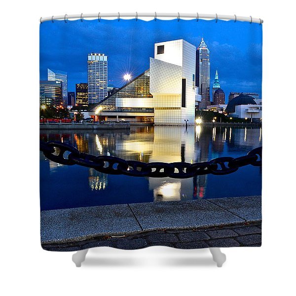 Rock And Roll Hall Of Fame Shower Curtain by Frozen in Time Fine Art Photography