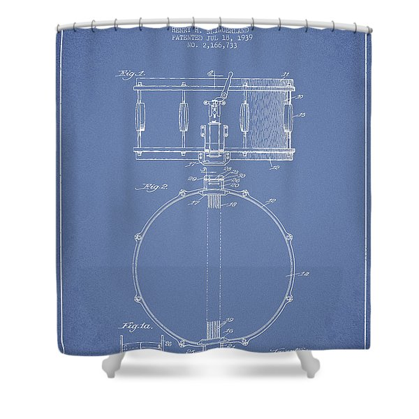 Snare Drum Patent Drawing from 1939 - Light Blue Shower Curtain by Aged Pixel