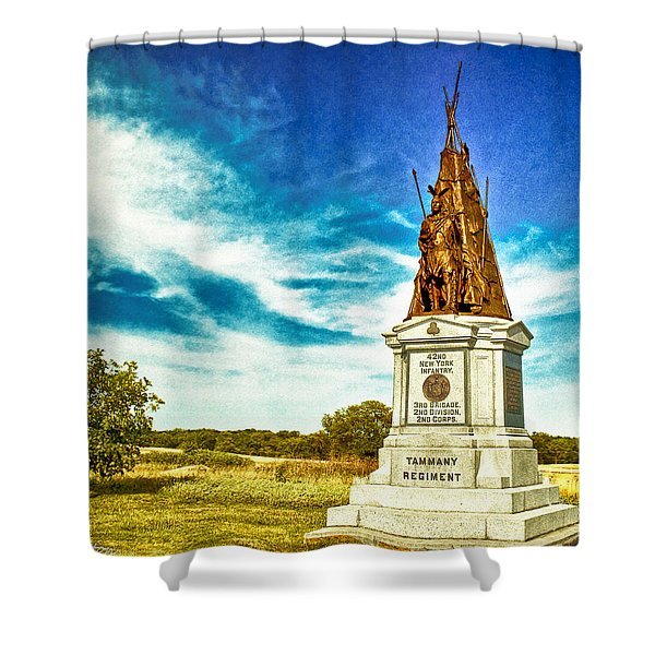 42nd New York Infantry Memorial Gettysburg Battleground Shower Curtain by Bob and Nadine Johnston