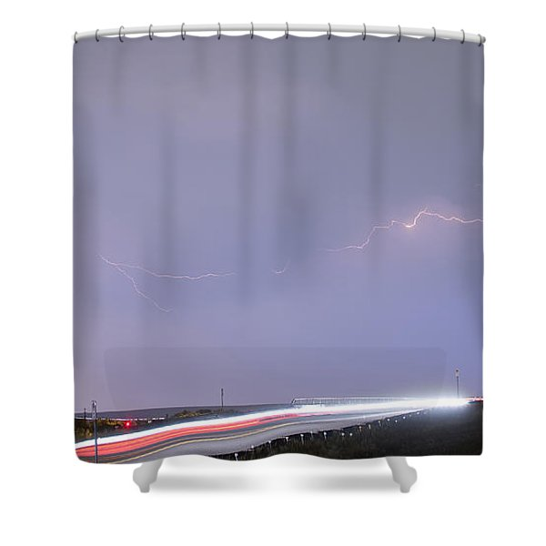 47 Street Lightning Storm Light Trails View Panorama 1 Shower Curtain by James BO  Insogna