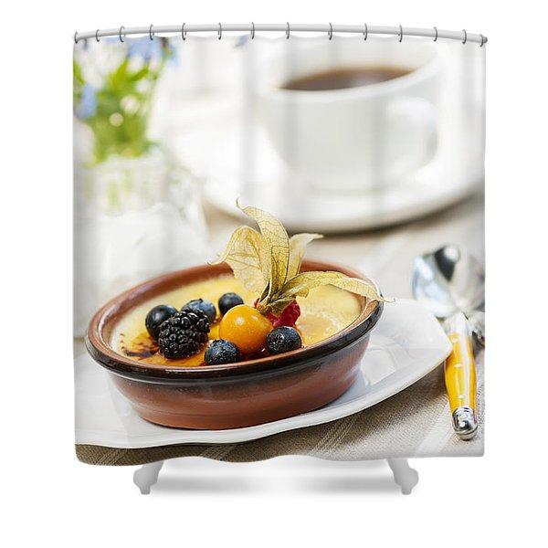 Creme brulee dessert Shower Curtain by Elena Elisseeva