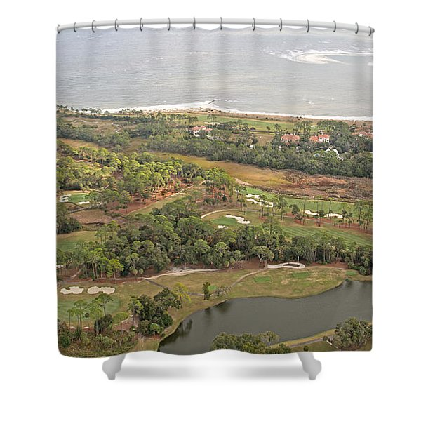 East Coast Aerial Near Jekyll Island Shower Curtain by Betsy C  Knapp