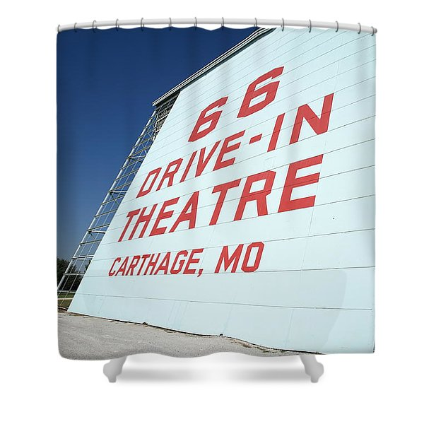 Route 66 Drive-in Theatre Shower Curtain by Frank Romeo