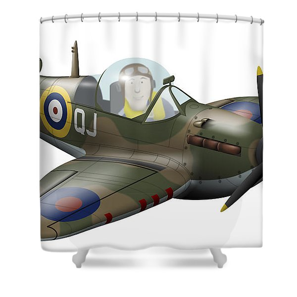 Cartoon Illustration Of A Royal Air Shower Curtain by Inkworm