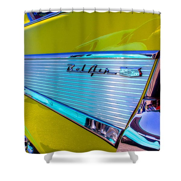 1957 Chevy Bel Air Custom Hot Rod Shower Curtain by David Patterson