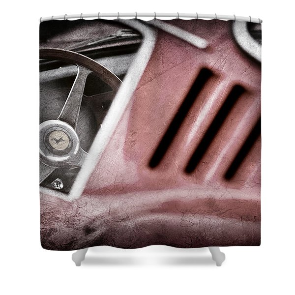 1966 Ferrari 275 Gtb Steering Wheel Emblem Shower Curtain by Jill Reger