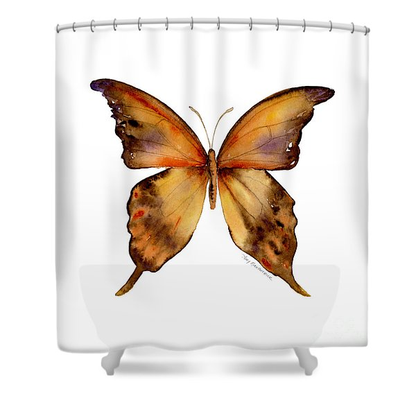 7 Yellow Gorgon Butterfly Shower Curtain by Amy Kirkpatrick