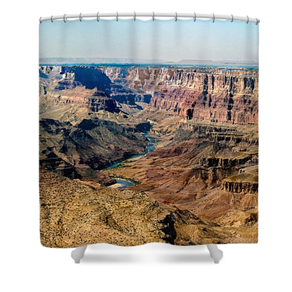 8-image Panorama Grand Canyon Desertview Shower Curtain by Bob and Nadine Johnston