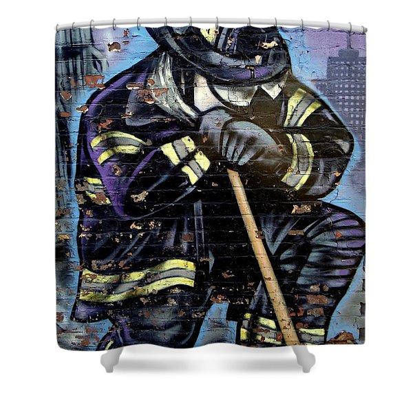 9-11 Hero Shower Curtain by Ed Weidman