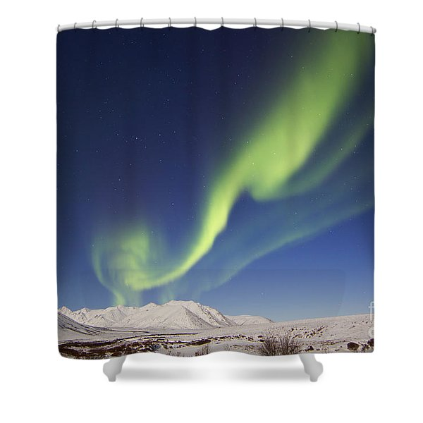 Aurora Borealis With Moonlight Shower Curtain by Joseph Bradley
