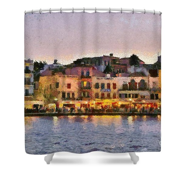 Painting of the old port of Chania Shower Curtain by George Atsametakis
