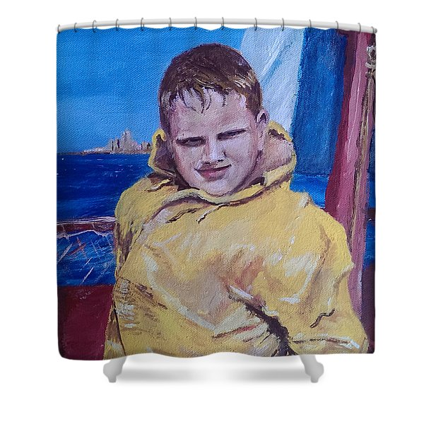 A Boy on a Boat Shower Curtain by Jack Skinner