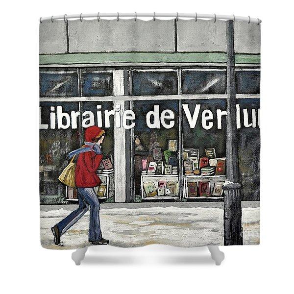 A Cold Day In Verdun  Librairie De Verdun Shower Curtain by Reb Frost