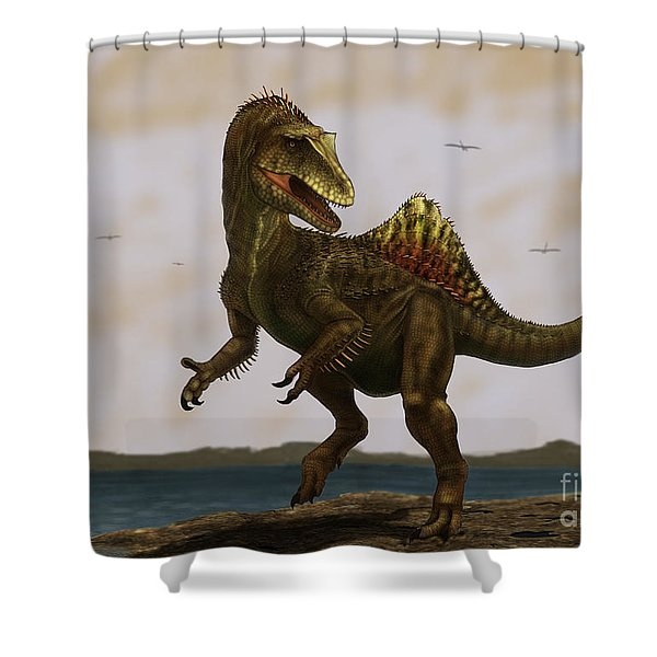 A Concavenator Corcovatus Running Shower Curtain by Alvaro Rozalen