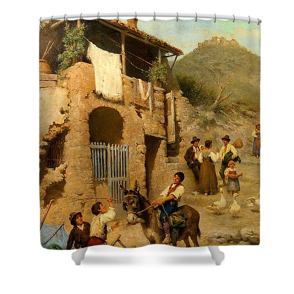 A Donkeys Reward Shower Curtain by Francesco Bergamini