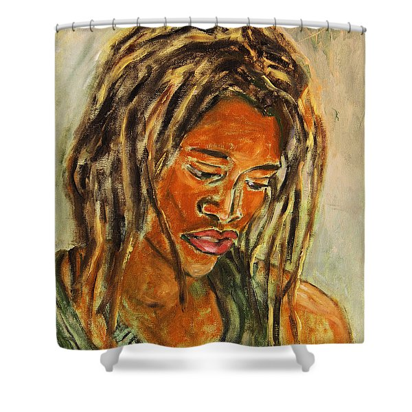 A Female Sax Player Shower Curtain by Xueling Zou