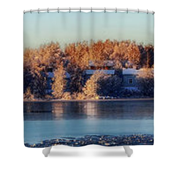 A Finland Winter Panorama Shower Curtain by Mountain Dreams