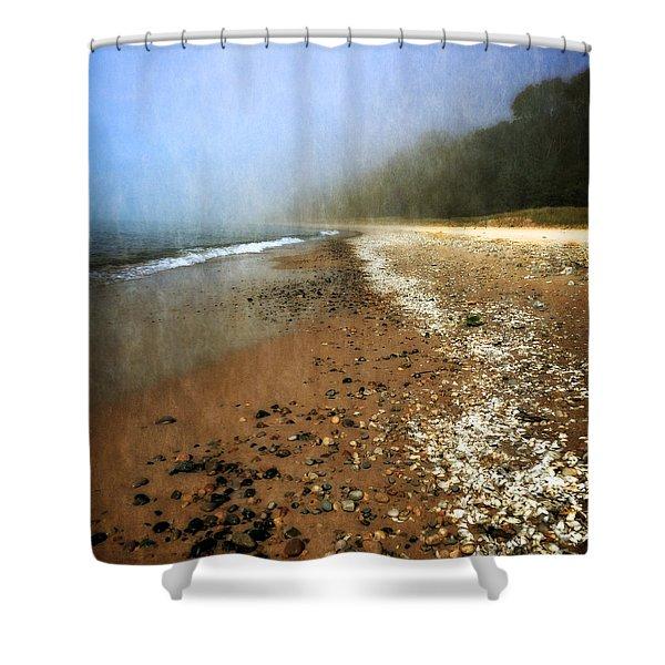 A Foggy Day At Pier Cove Beach 2.0 Shower Curtain by Michelle Calkins
