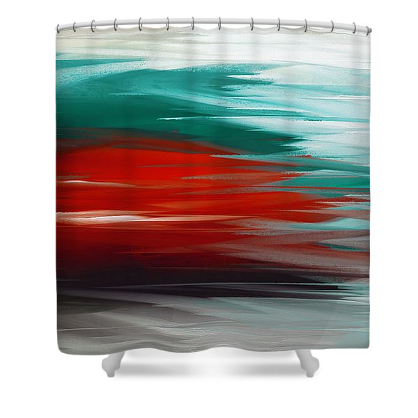 A Frozen Sunset Abstract Shower Curtain by Andee Design