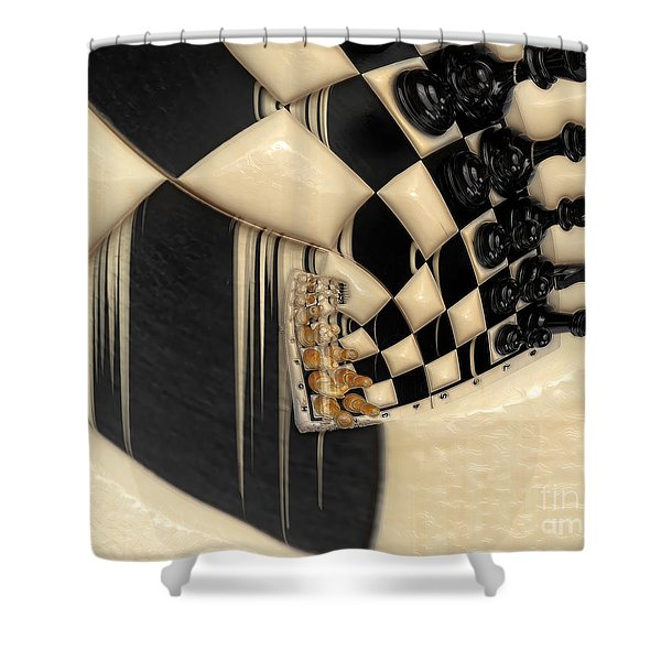 A Game Of Chess Shower Curtain by Liane Wright