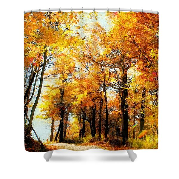 A Golden Day Shower Curtain by Lois Bryan