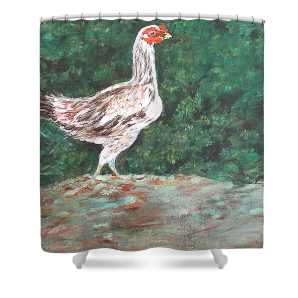 A Hen Shower Curtain by Usha Shantharam
