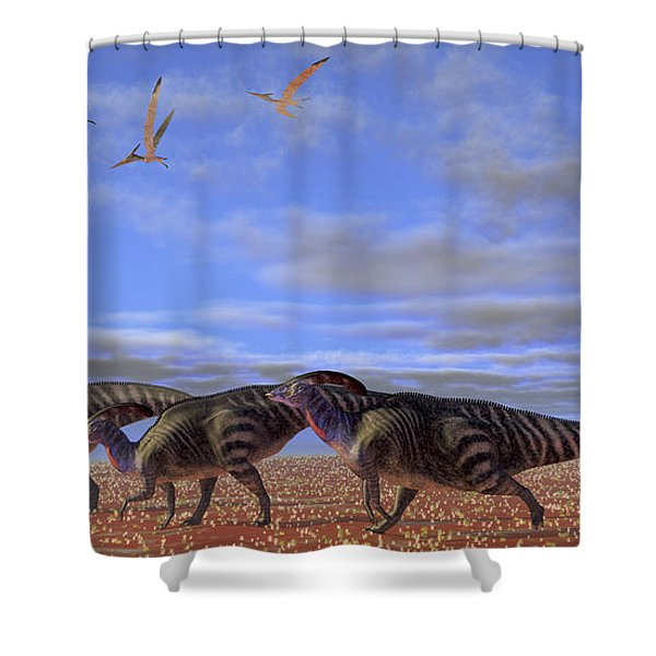 A Herd Of Parasaurolophus Dinosaurs Shower Curtain by Corey Ford