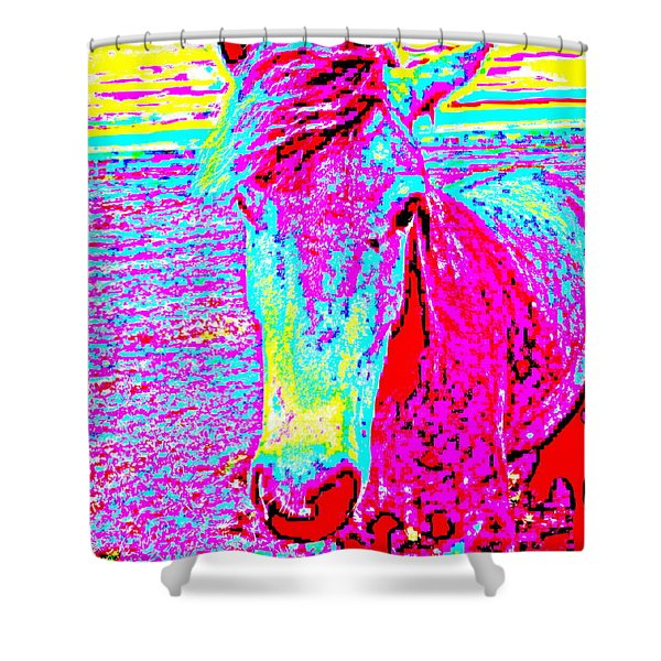 a horse comes to me in a dream Shower Curtain by Hilde Widerberg
