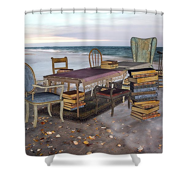 A Library Of Oceans Shower Curtain by Betsy C  Knapp