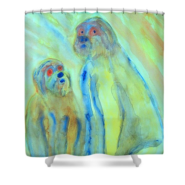 a little troll family  Shower Curtain by Hilde Widerberg