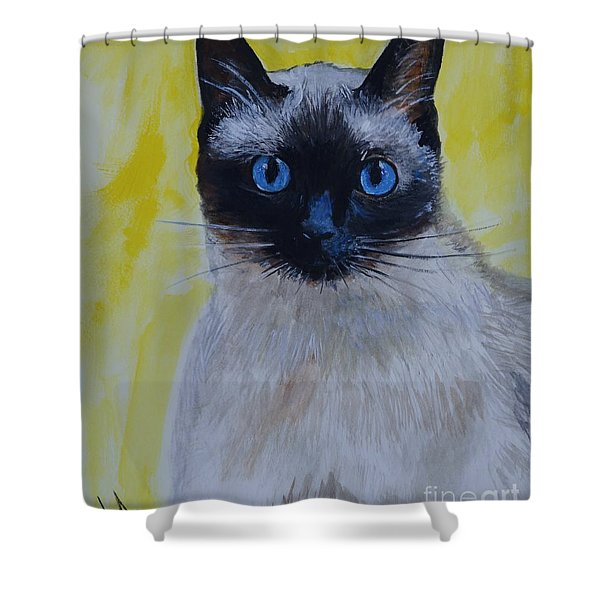 A Loving Siamese Shower Curtain by Leslie Allen