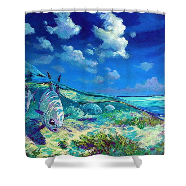 A Place I'd Rather Be - Caribbean Permit Fly Fishing Painting Shower Curtain by Savlen Art