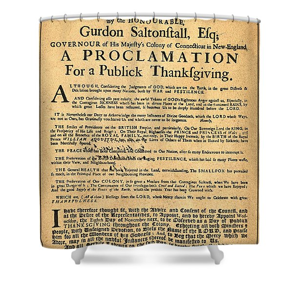 A Proclamation of Thanksgiving Shower Curtain by Digital Reproductions