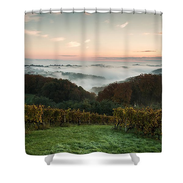 A quiet morning on the hill Shower Curtain by Davorin Mance