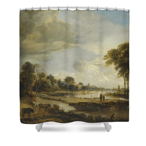 A River Landscape with Figures and Cattle Shower Curtain by Gianfranco Weiss