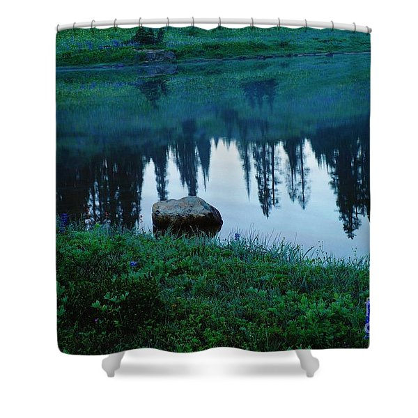 A Rock In The Reflection Shower Curtain by Jeff  Swan