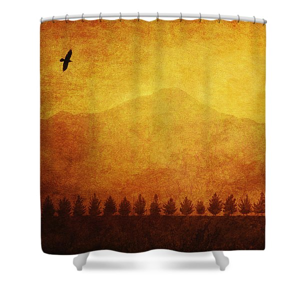A Row Of Trees And A Raven Silhouetted Shower Curtain by Roberta Murray