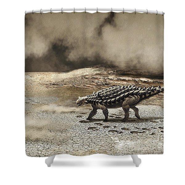 A Saichania Chulsanensis Dinosaur Shower Curtain by Roman Garcia Mora