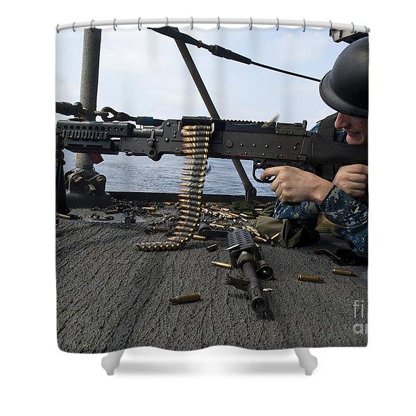 A Sailor Fires An M-240b Machine Gun Shower Curtain by Stocktrek Images