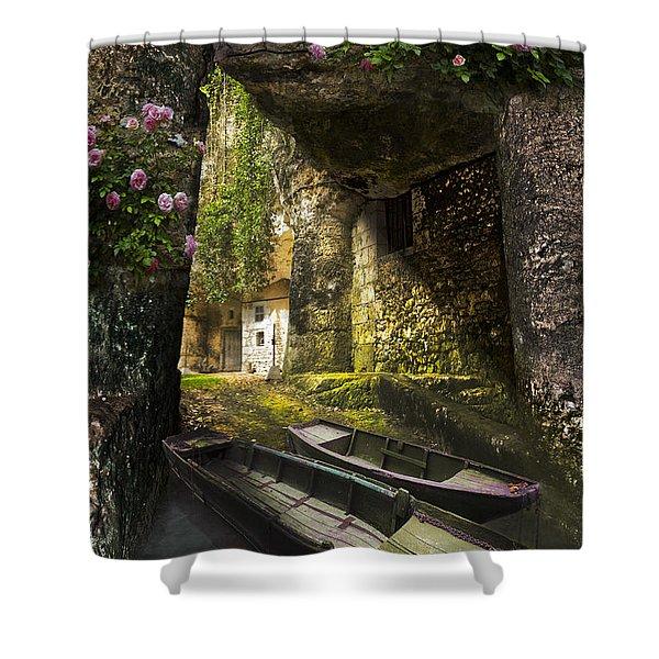 A Secret Place Shower Curtain by Debra and Dave Vanderlaan