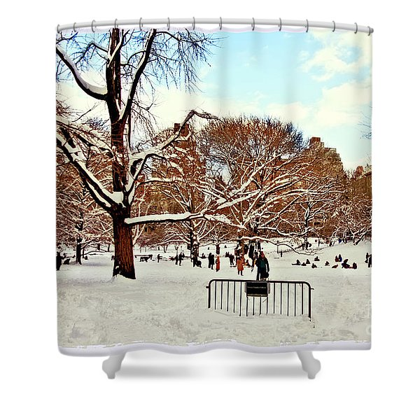 A Snow Day In Central Park Shower Curtain by Madeline Ellis