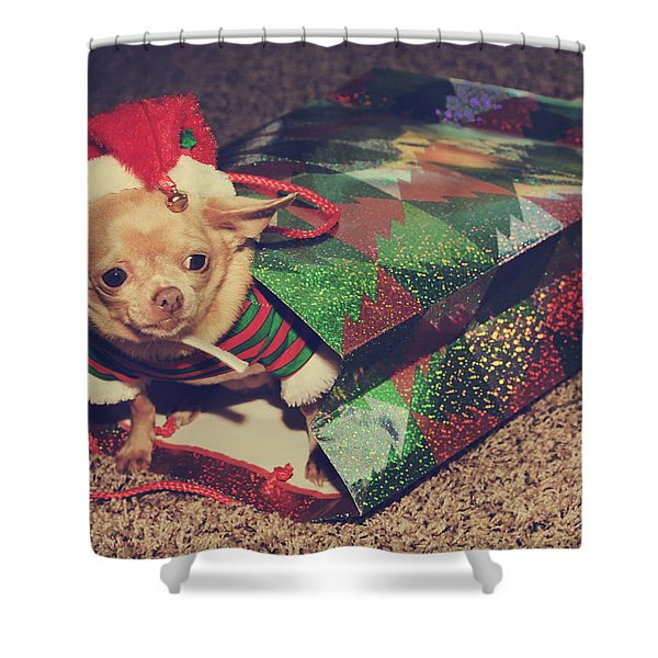 A Sweet Christmas Surprise Shower Curtain by Laurie Search